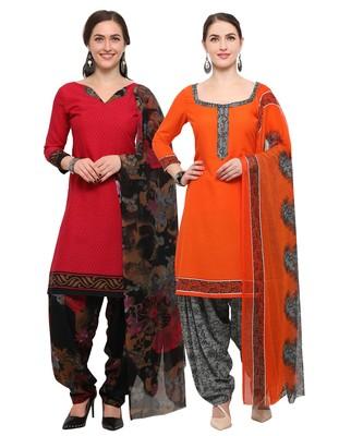 Red And Orange Colour Digital Print Crepe Salwar With Dupatta