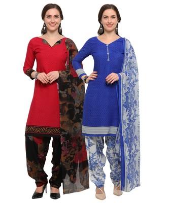 Pink & Blue Digital Print Crepe Salwar With Dupatta