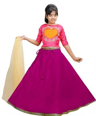 Rani Dupian Silk Hand Embroidery Kids Stitched Lehenga With Dupatta