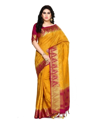 Mimosa mustard woven tussar silk saree with blouse