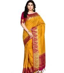 Buy Mimosa mustard woven tussar silk saree with blouse tussar-silk-saree online