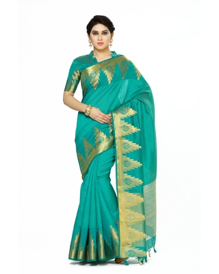 Mimosa Teal Woven Tussar Silk Saree With Blouse