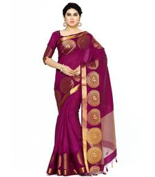 Mimosa Purple Woven Tussar Silk Saree With Blouse