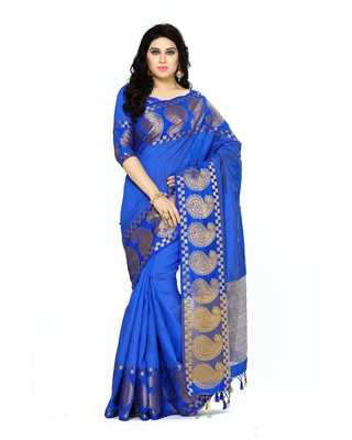 Mimosa blue woven tussar silk saree with blouse