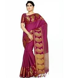 Mimosa purple woven tussar silk saree with blouse