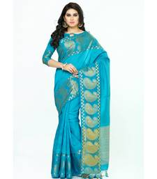 Mimosa Turquoise Blue Woven Tussar Silk Saree With Blouse