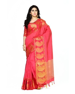 Mimosa Red Woven Tussar Silk Saree With Blouse