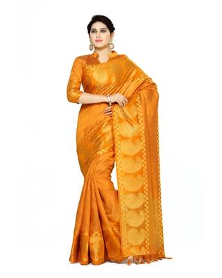 Mimosa orange woven tussar silk saree with blouse