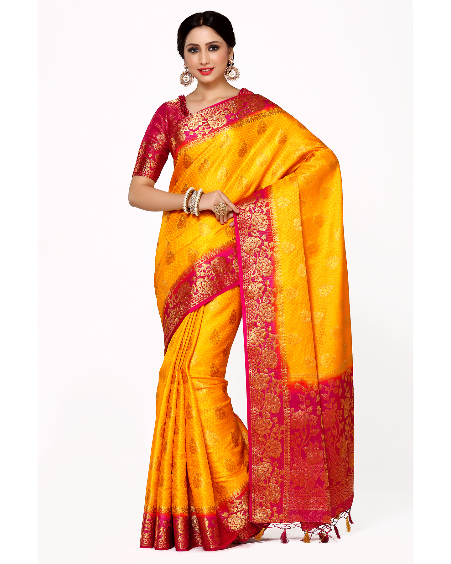 af777a1f7768f6 Mimosa gold woven art silk saree with blouse - MIMOSA - 2608305