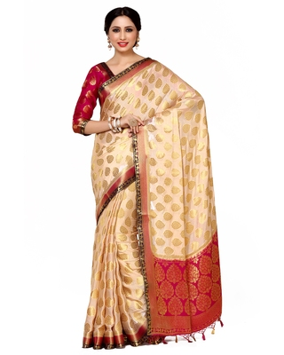 Mimosa Beige Woven Saree With Blouse