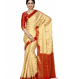 Buy Mimosa beige woven saree with blouse art-silk-saree online