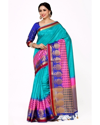 Mimosa Turquoise Blue Woven Art Silk Saree With Blouse