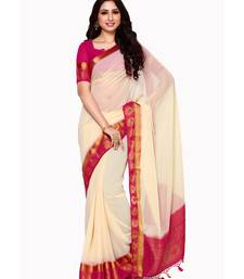 Mimosa Off White Woven Chiffon Saree With Blouse