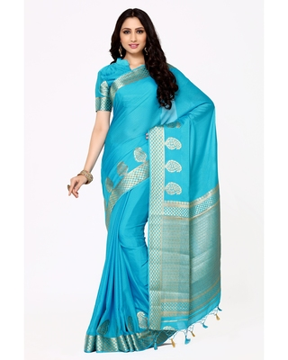Mimosa Turquoise Blue Woven Crepe Saree With Blouse