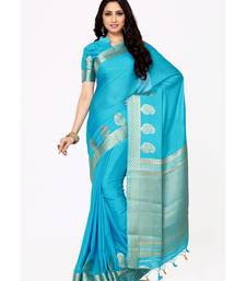 Buy Mimosa turquoise blue woven crepe saree with blouse crepe-saree online