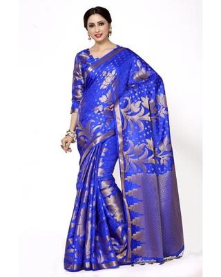 Mimosa Blue Woven Art Silk Saree With Blouse