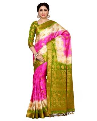 Mimosa multi woven art silk saree with blouse