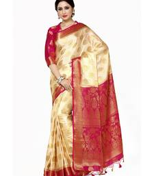 Mimosa beige woven crepe saree with blouse