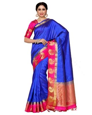 Mimosa blue woven tussar art silk saree with blouse