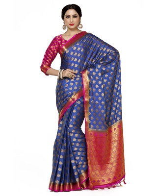 Mimosa Violet Woven Saree With Blouse