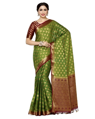 Mimosa Olive Woven Saree With Blouse