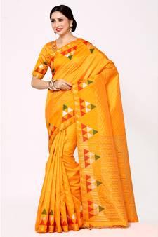 db8863102d9689 63% OFF Buy Mimosa gold woven art silk saree with blouse art-silk-saree  online