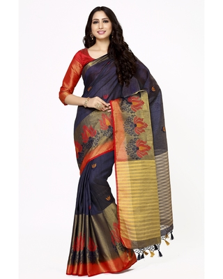 Mimosa navy blue embroidered tussar art silk saree with blouse