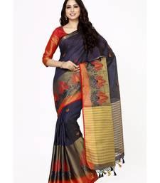 Buy Mimosa navy blue embroidered tussar art silk saree with blouse tussar-silk-saree online