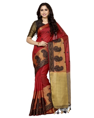 Mimosa red embroidered tussar art silk saree with blouse