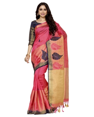 Mimosa pink embroidered tussar art silk saree with blouse