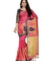 Buy Mimosa pink embroidered tussar art silk saree with blouse women-ethnic-wear online