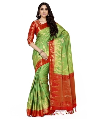 Mimosa Green Woven Art Silk Saree With Blouse