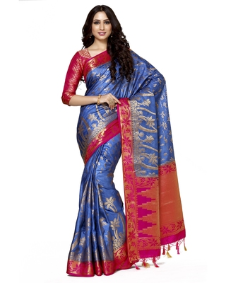 Mimosa Blue Woven Art Silk Saree With Blouse