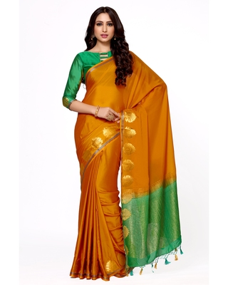 Mimosa Orange Woven Saree With Blouse