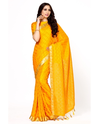 Mimosa gold woven crepe saree with blouse
