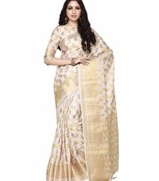 Mimosa beige woven art silk saree with blouse