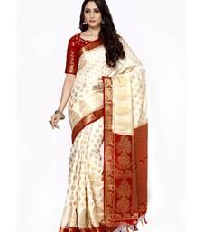 Mimosa beige woven art silk saree with blouse