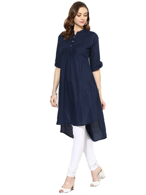 Navy-blue plain rayon party-wear-kurtis