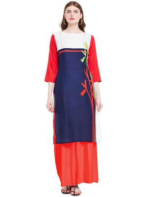 Chhabra 555 Blue  Coloured Printed Rayon Stitched Straight Kurta