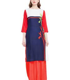Buy Chhabra 555 Blue  Coloured Printed Rayon Stitched Straight Kurta party-wear-kurtis online