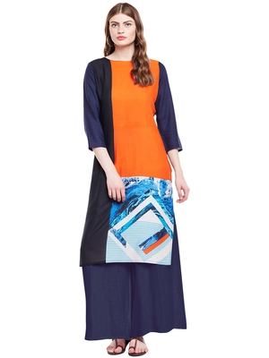 Chhabra 555 Orange & Black  Coloured Printed Rayon Stitched Straight Kurta