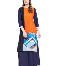 Buy Chhabra 555 Orange & Black  Coloured Printed Rayon Stitched Straight Kurta party-wear-kurtis online