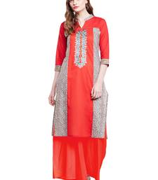 Buy Chhabra 555 Red Coloured Embroidered Cotton Stitched Straight Kurta women-ethnic-wear online