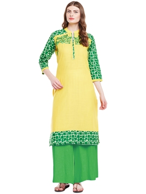 Chhabra 555 Yellow & Green coloured  Embroidered Cotton Stitched Straight Kurta
