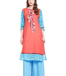 Buy Chhabra 555 Pink & Blue  Coloured  Embroidered Cotton Stitched Straight Kurta party-wear-kurtis online