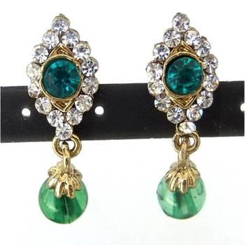 Green stone earrings/JW-718