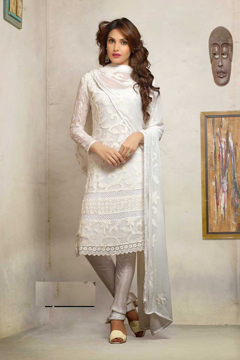 0fcba04d5 White Embroidered Work georgette semi-stitched salwar with dupatta s1472 -  Style Of Surat - 351851
