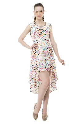 Multicolor printed crepe party-wear-kurtis