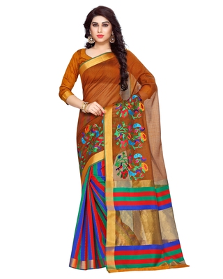 Mimosa Gold Embroidered Art Silk Saree With Blouse