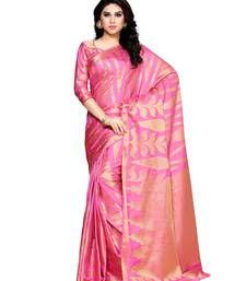 Mimosa pink woven art silk saree with blouse